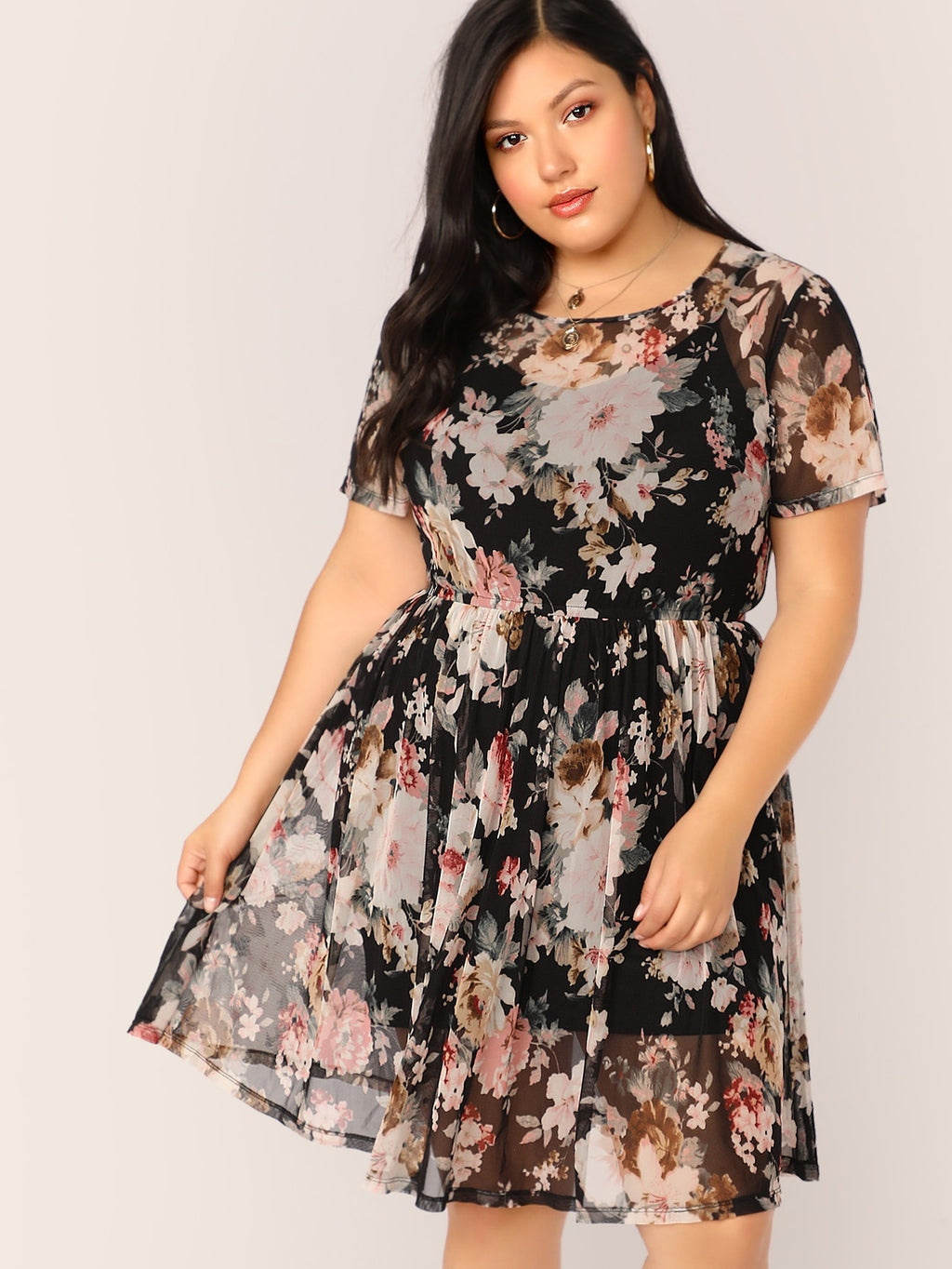Plus Size Sheer Sunny Floral Print Dress