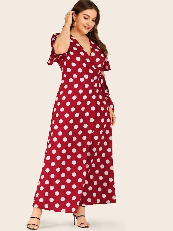 Plus Size Polka Dot Self Tie Maxi Wrap Dress