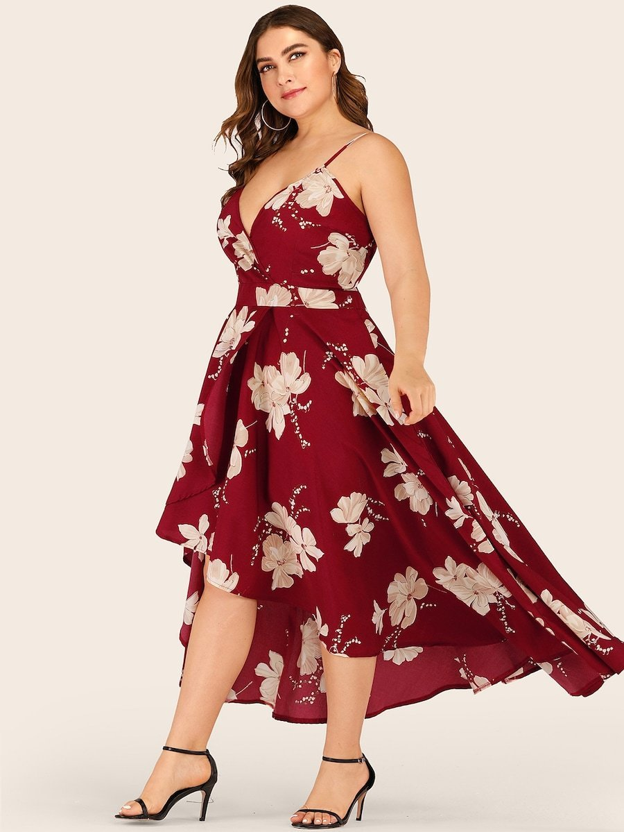 Plus Size Floral Print Tulip Hem Cami Dress