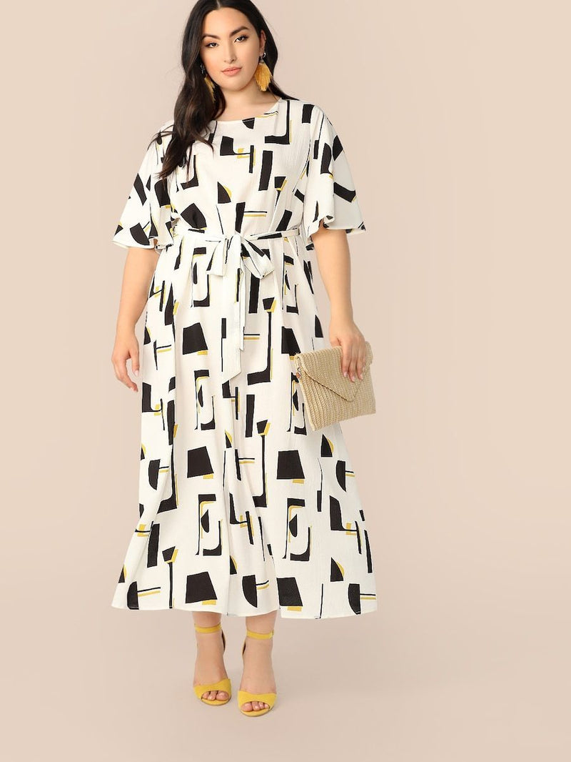 Plus Size Flutter Sleeve Geo Print Belted Dress