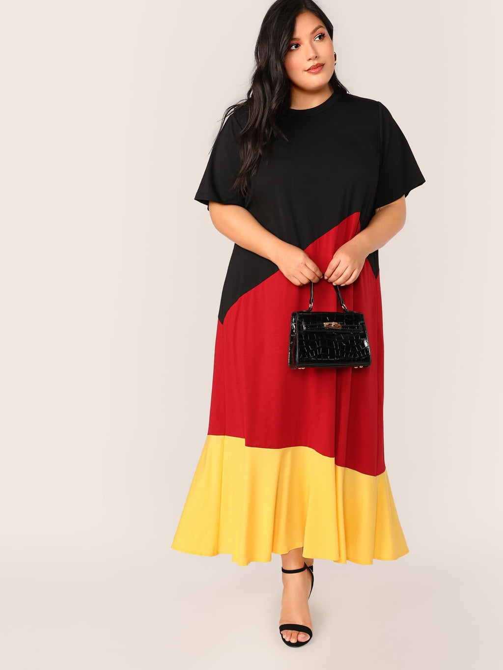 Plus Size Fun Colorblock Maxi Dress