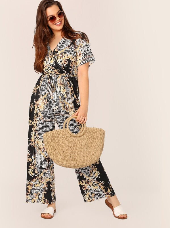 Plus Size Baroque & Greek Fret Print Wrap Belted Palazzo Jumpsuit