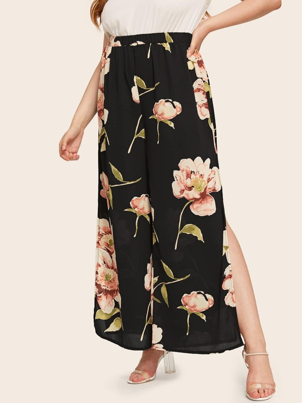 Plus Size Floral Print Split Side Pants