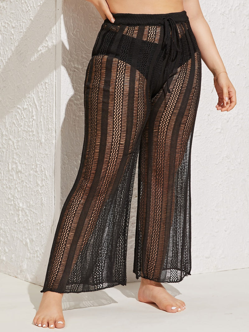 Plus Size Open Stitch Pants Without Shorts