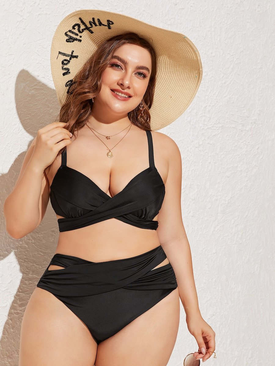 Plus Size Ruched Criss Cross Cut-Out High Waist Bikini