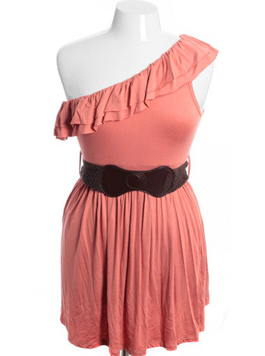 Plus Size One Shoulder Sexy Layered Clay Orange Belt Dress