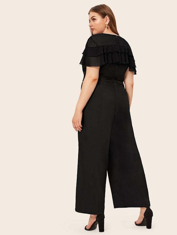 Plus Size Ruffle Trim V-Neck Belted Jumpsuit