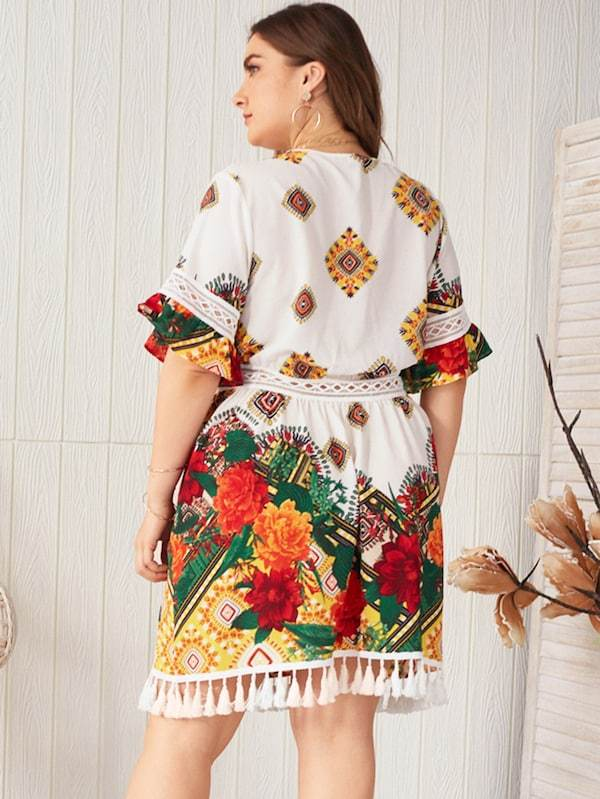 Plus Size Tribal Print Crochet Panel Fringe Hem Dress