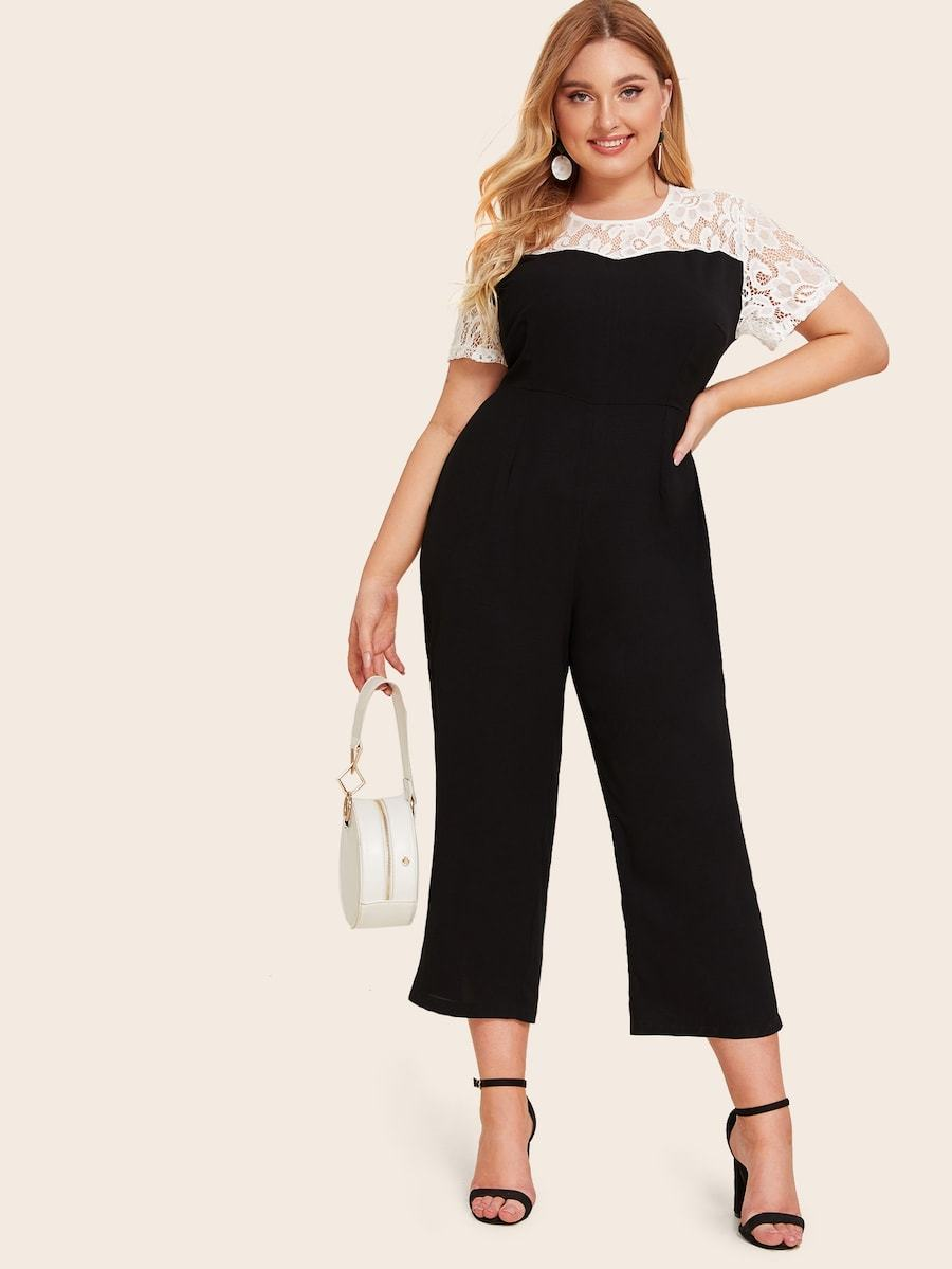 Plus Size Contrast Lace Keyhole Back Jumpsuit