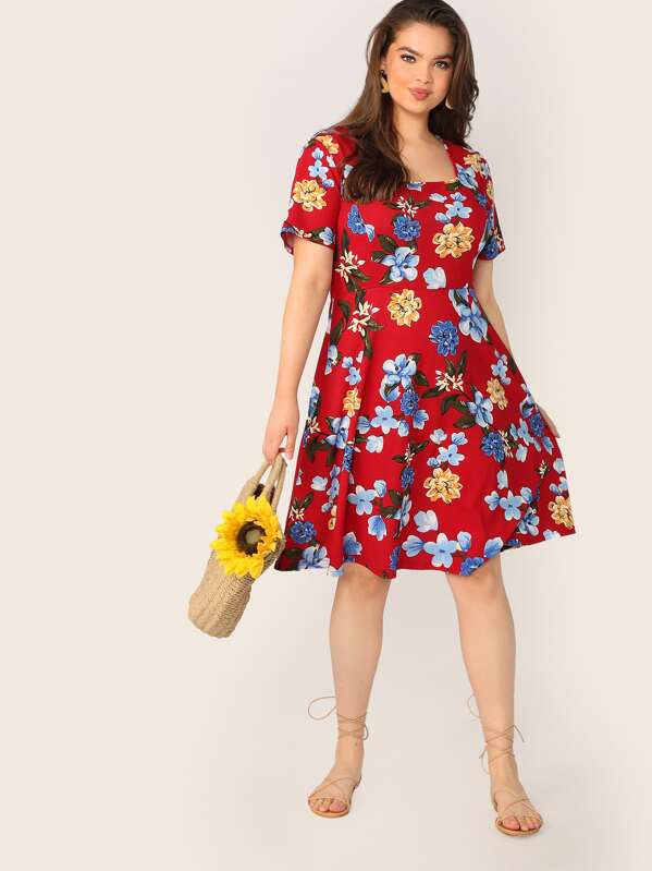 Plus Size Square Neck Floral Print Dress