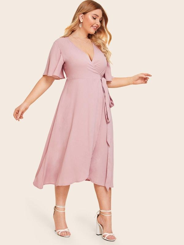 Plus Size Asymmetrical Hem Wrap Knotted Dress
