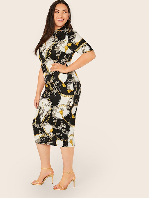 Plus Size Mock Neck Scarf Print Pencil Dress