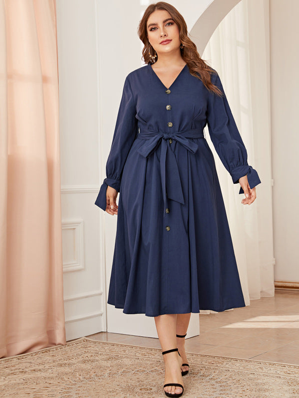 Plus Size Button Detail Knot Cuff Belted Dress