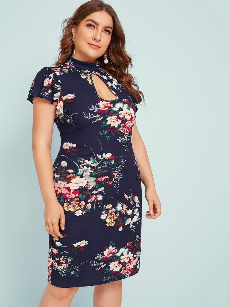 Plus Size Keyhole Neck Ruffle Armhole Floral Dress