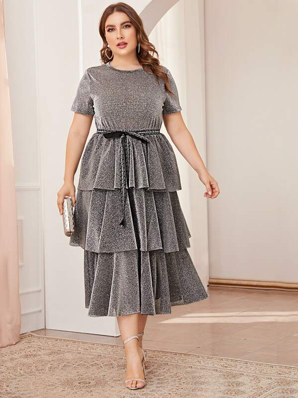 Plus Size Letter Tie Waist Layered Ruffle Hem Glitter Dress
