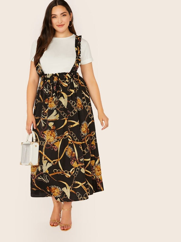 Plus Size Chain Print Paperbag Waist Pinafore Skirt