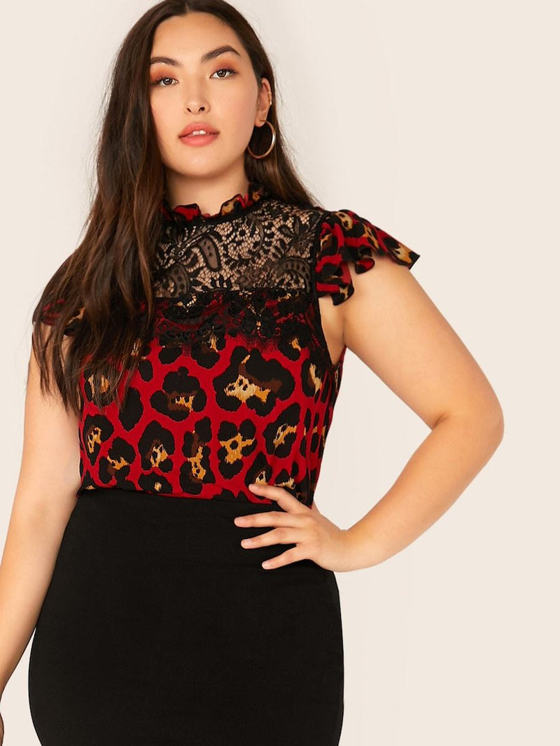 Plus Size Frill Neck Lace Yoke Leopard Top