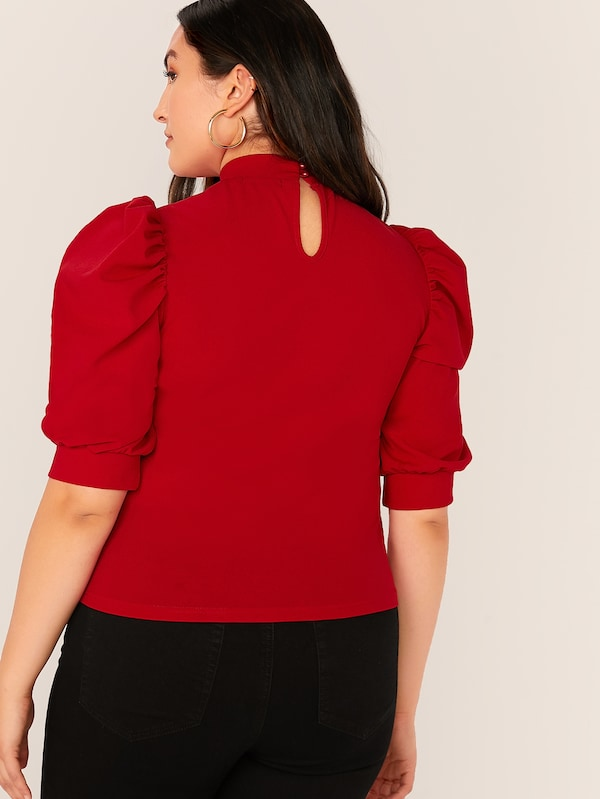 Plus Size Mock-Neck Puff Sleeve Solid Top