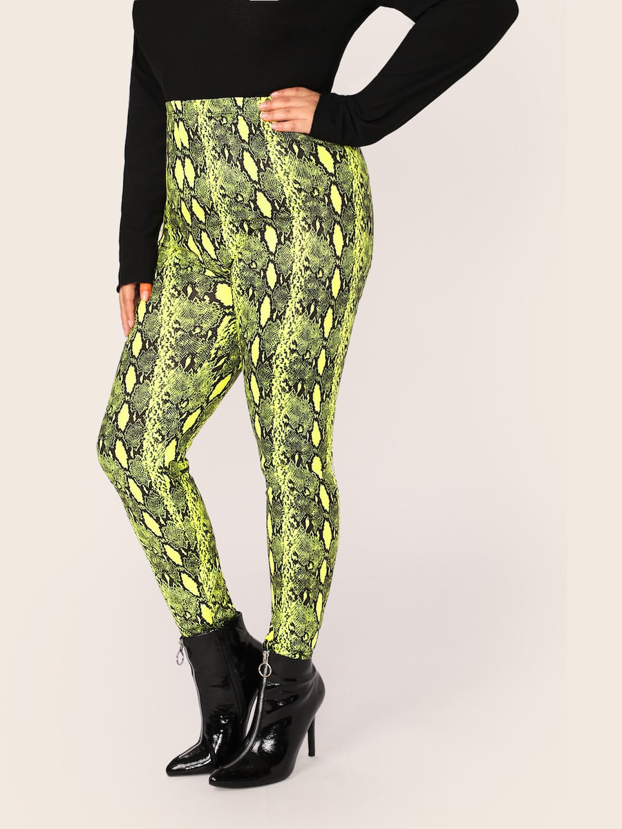 Plus Size Neon Lime Snakeskin Print Leggings