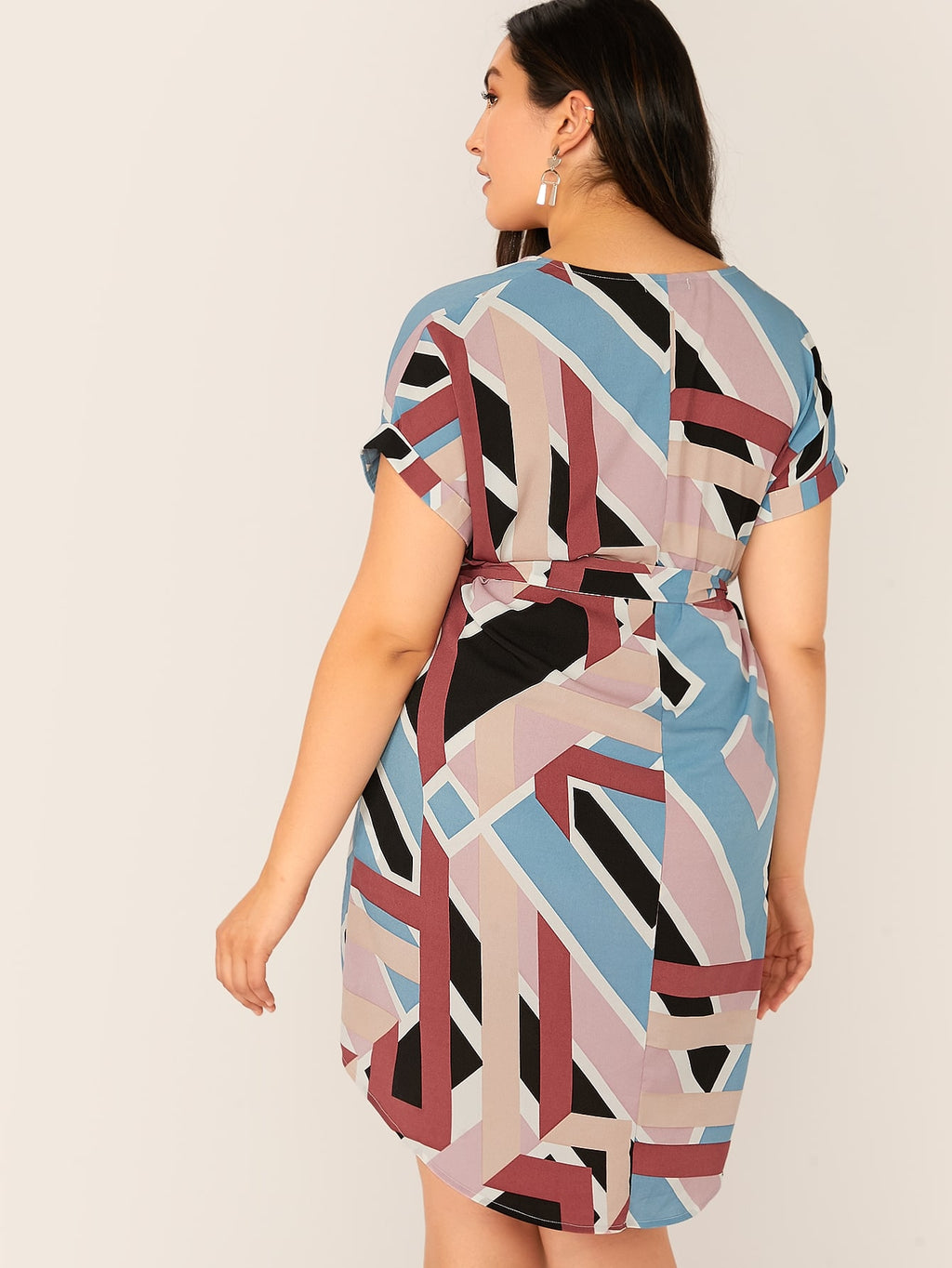 Plus Size Mod Print V-cut High-low Hem Belted Dress