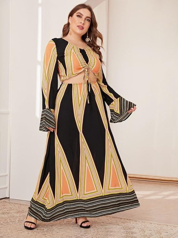 Plus Size Drawstring Front Geo Print Maxi Dress