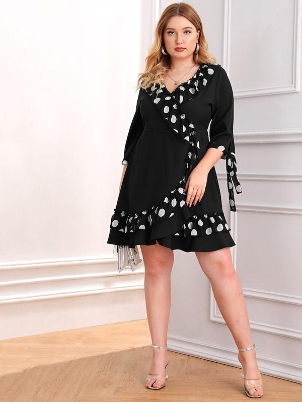 Plus Size Polka Dot Tie Cuff Ruffle Dress