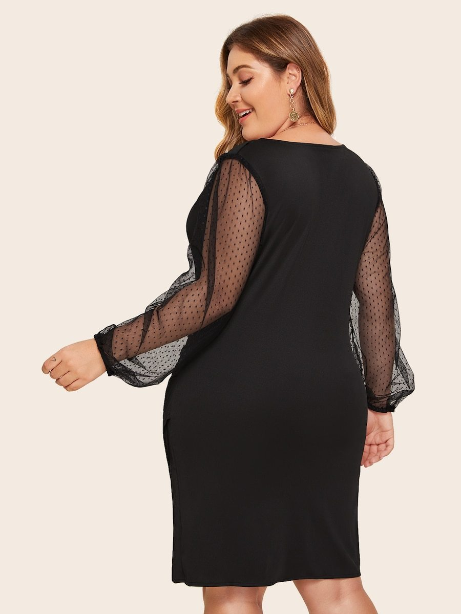 Plus Size Surplice Contrast Mesh Bishop Sleeve Dress