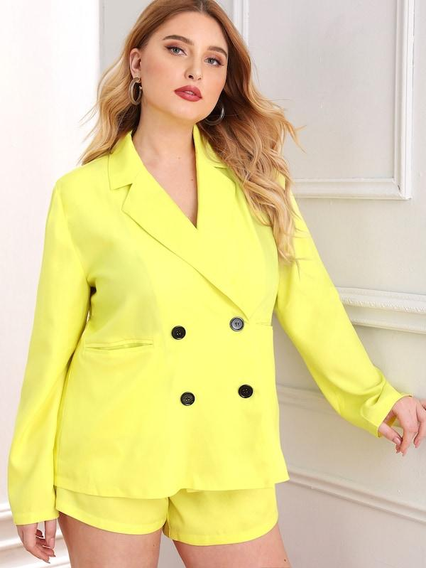 Plus Size Neon Yellow Double Button Pocket Blazer