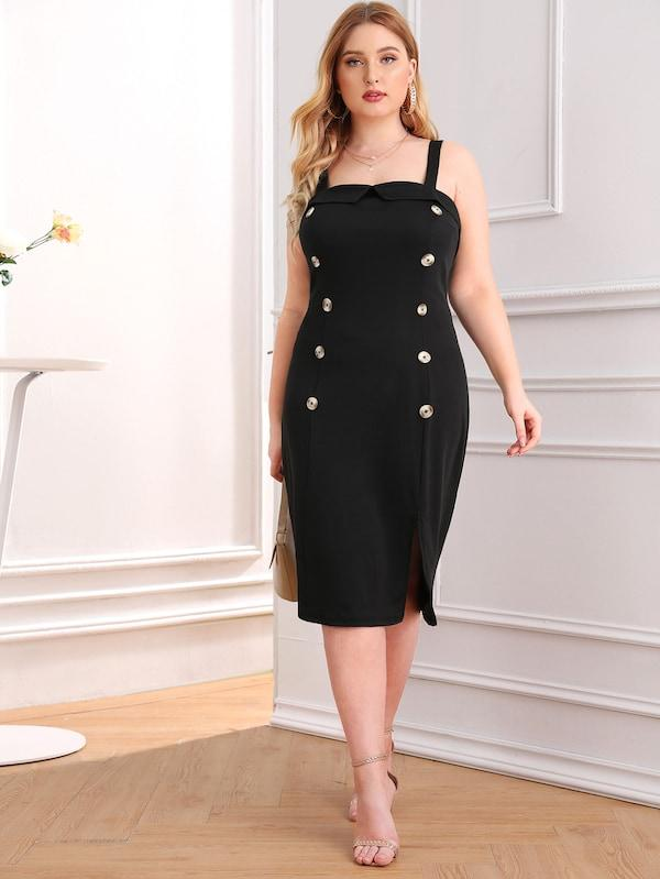 Plus Size Double Button Split Front Zip Back Dress