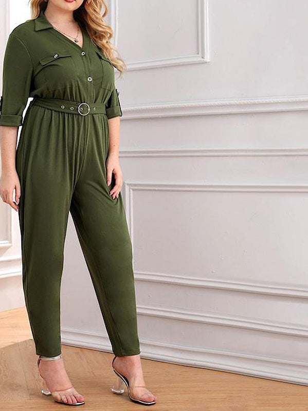 Plus Size Roll Tab Sleeve Button Pocket Jumpsuit
