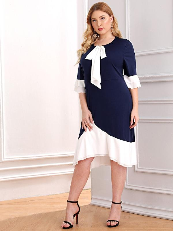 Plus Size Colorblock Tie Neck Layered Sleeve Dress
