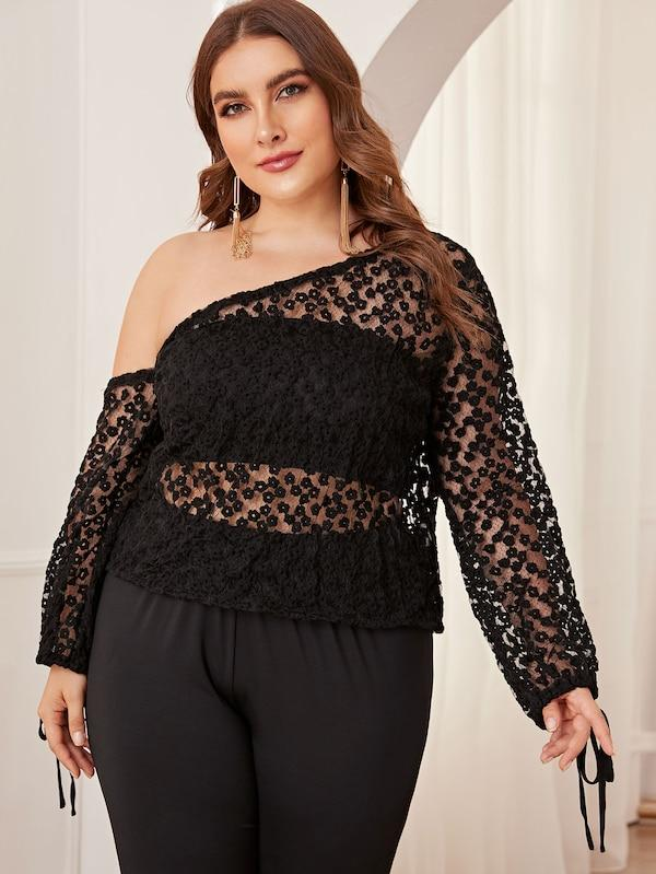 Plus Size Mesh Embroidery Asymmetrical Sheer Top Without Bra