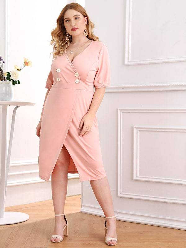 Plus Size Double Button Split Front Dress