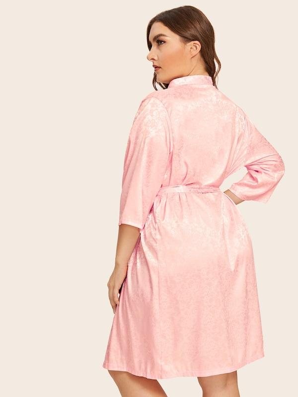 Plus Size Floral Satin Robe With Belt