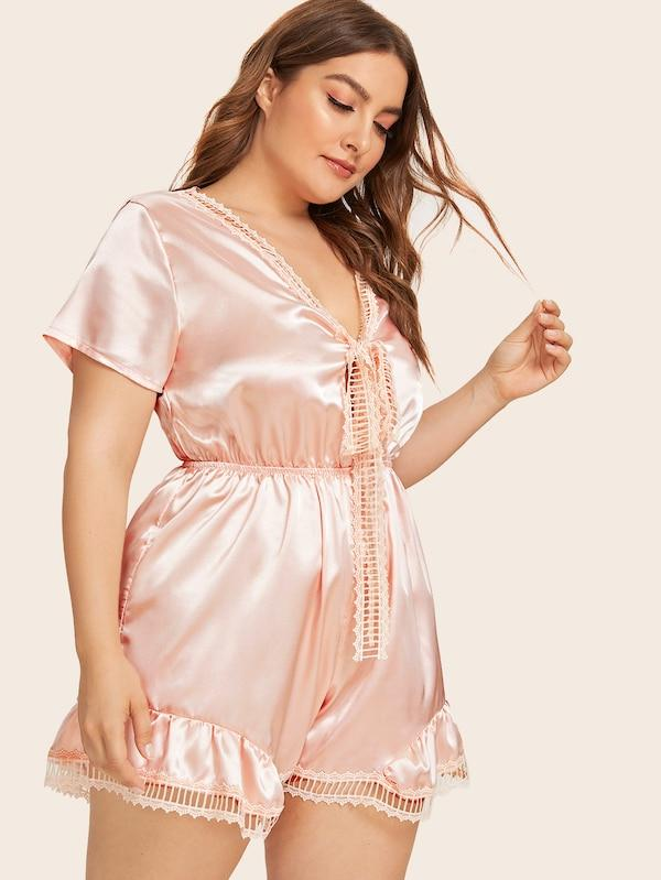 Plus Size Cut Out Satin Night Jumpsuit