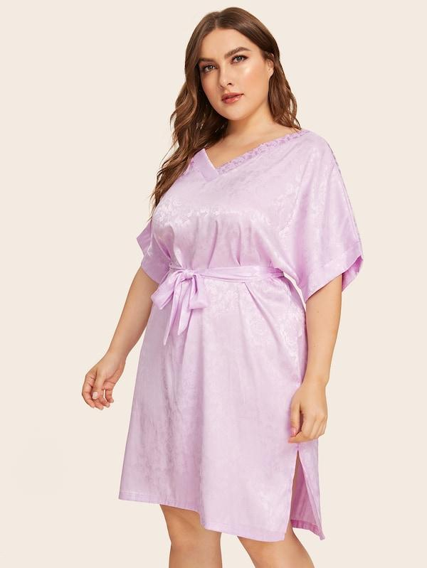Plus Size Floral Split Satin Robe With Belt