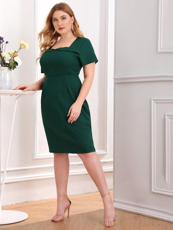Plus Size Solid Square Neck Zip Back Dress
