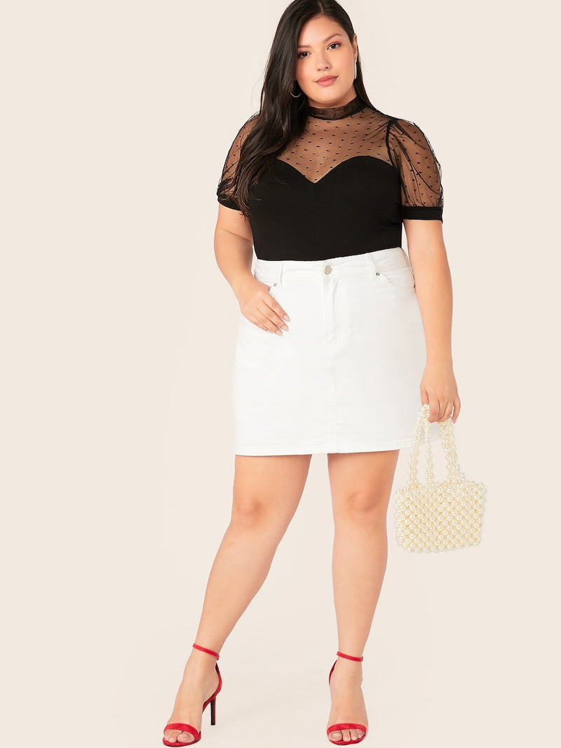 Plus Size Mock-Neck Dot Mesh Shoulder Fitted Bodysuit