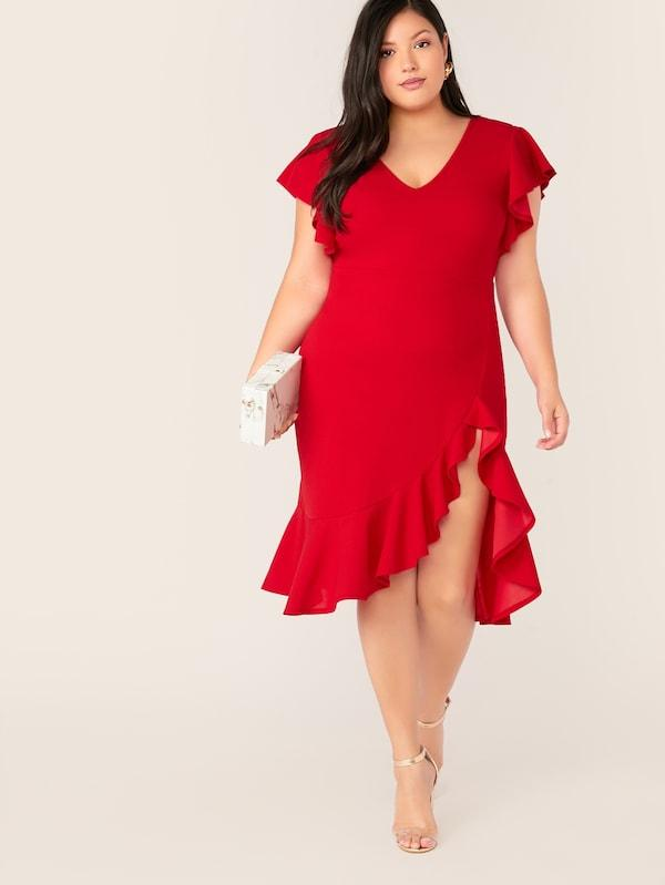 Plus Size Butterfly Sleeve Asymmetrical Ruffle Hem Dress