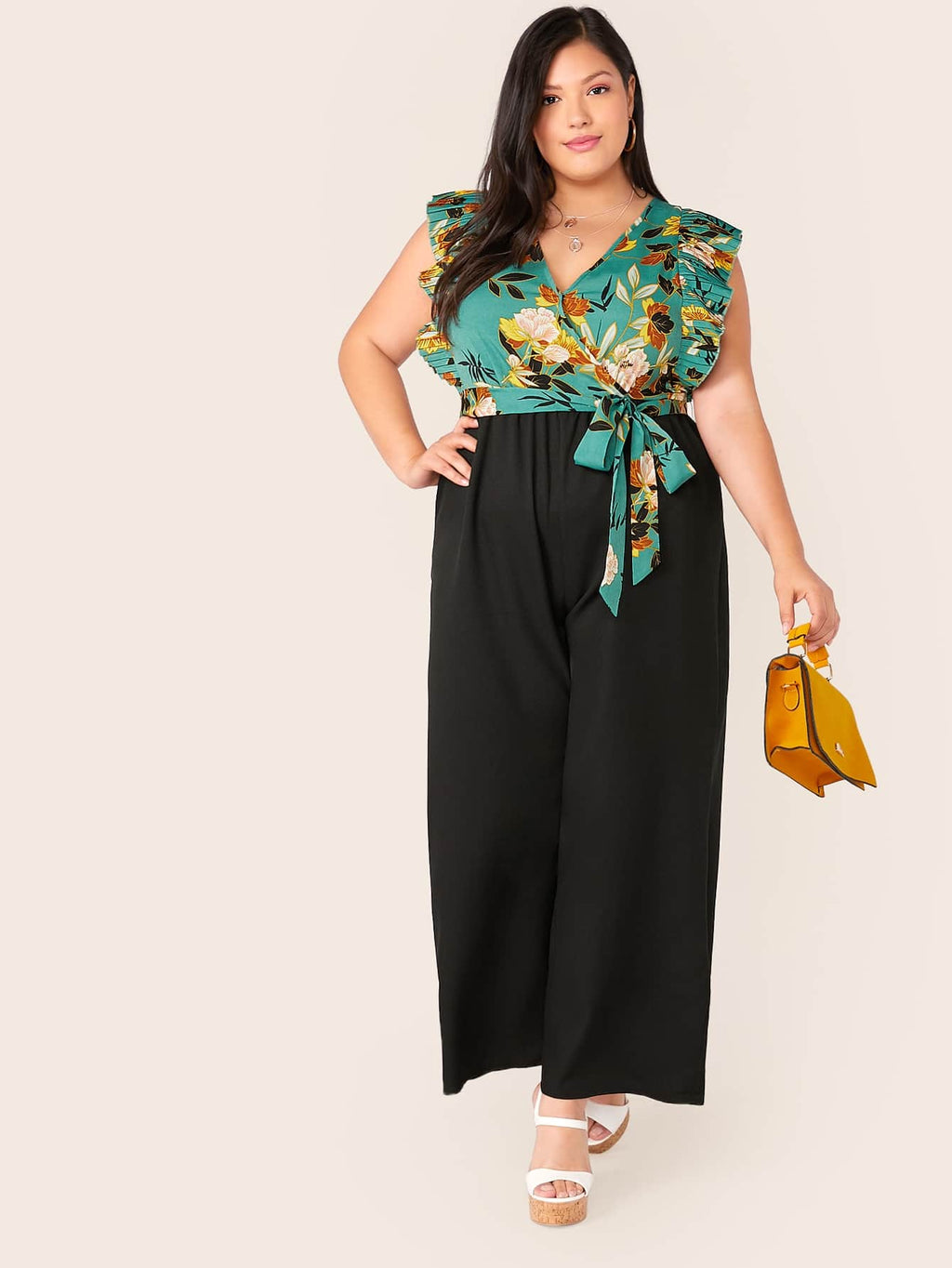 Plus Size Adorable Pleated Ruffle Palazzo Jumpsuit