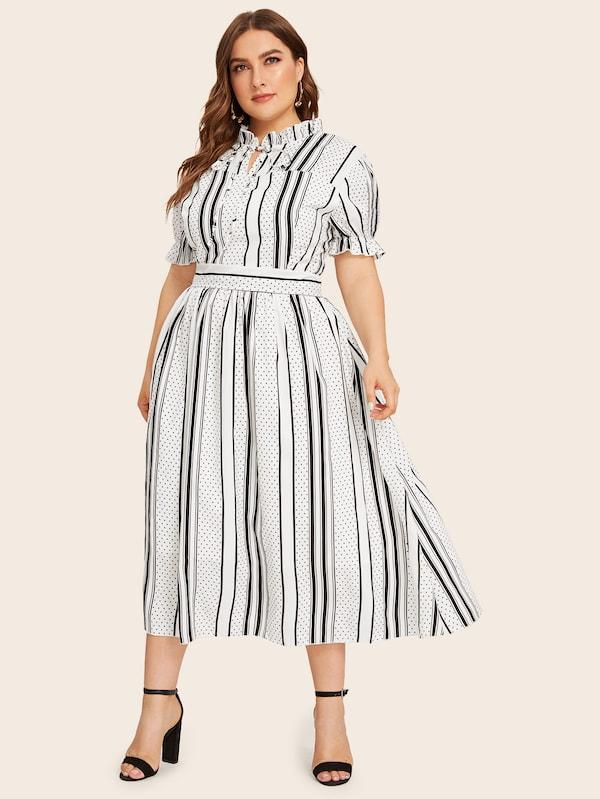 Plus Size Striped And Polka Dot Print Tie Neck Frill Dress