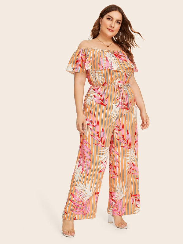 Plus Size Off Shoulder Plant Print Self Tie Striped Jumpsuit