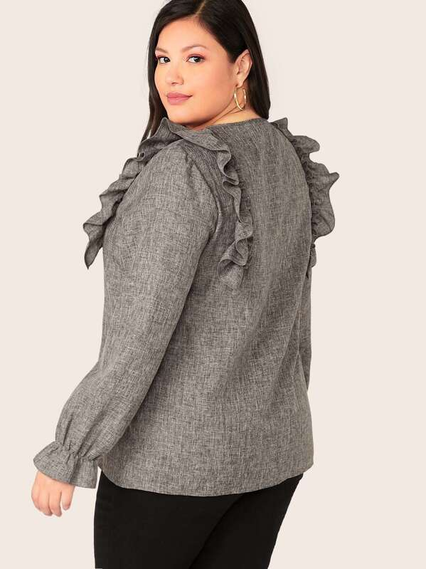 Plus Size Ruffle & Button Detail Textured Top