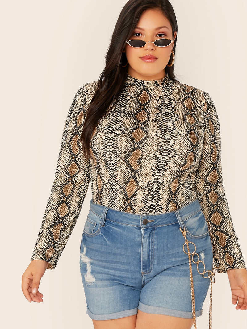 Plus Size Snakeskin Print Mock-neck Top