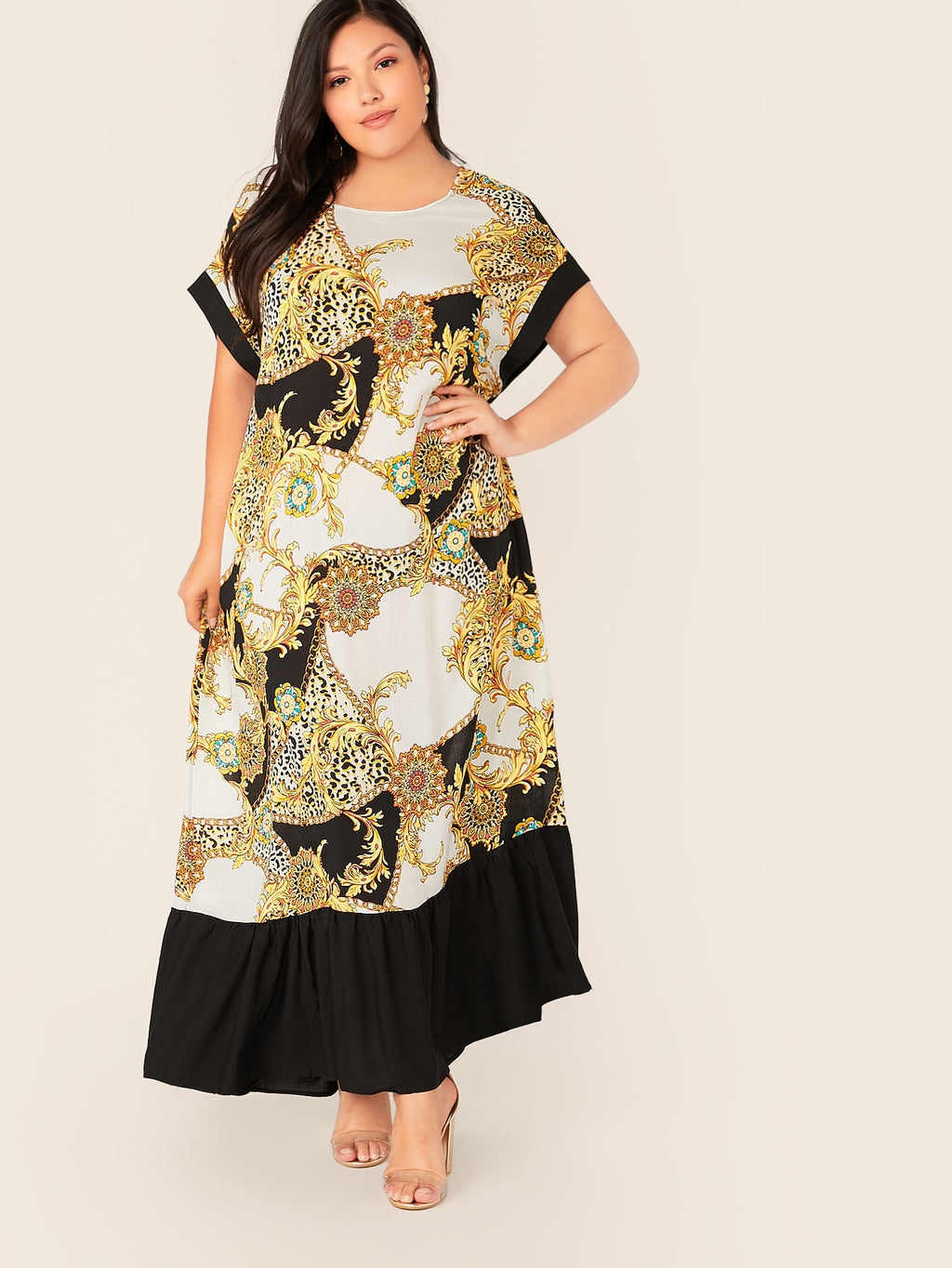 Plus Size Designer Chain Print Maxi Dress