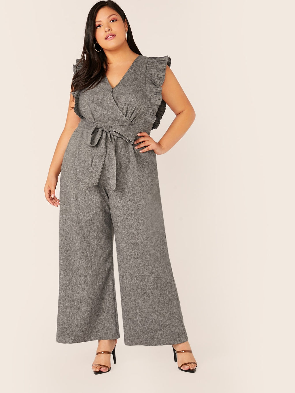 Plus Size Surplice Ruffle Wide Leg Jumpsuit