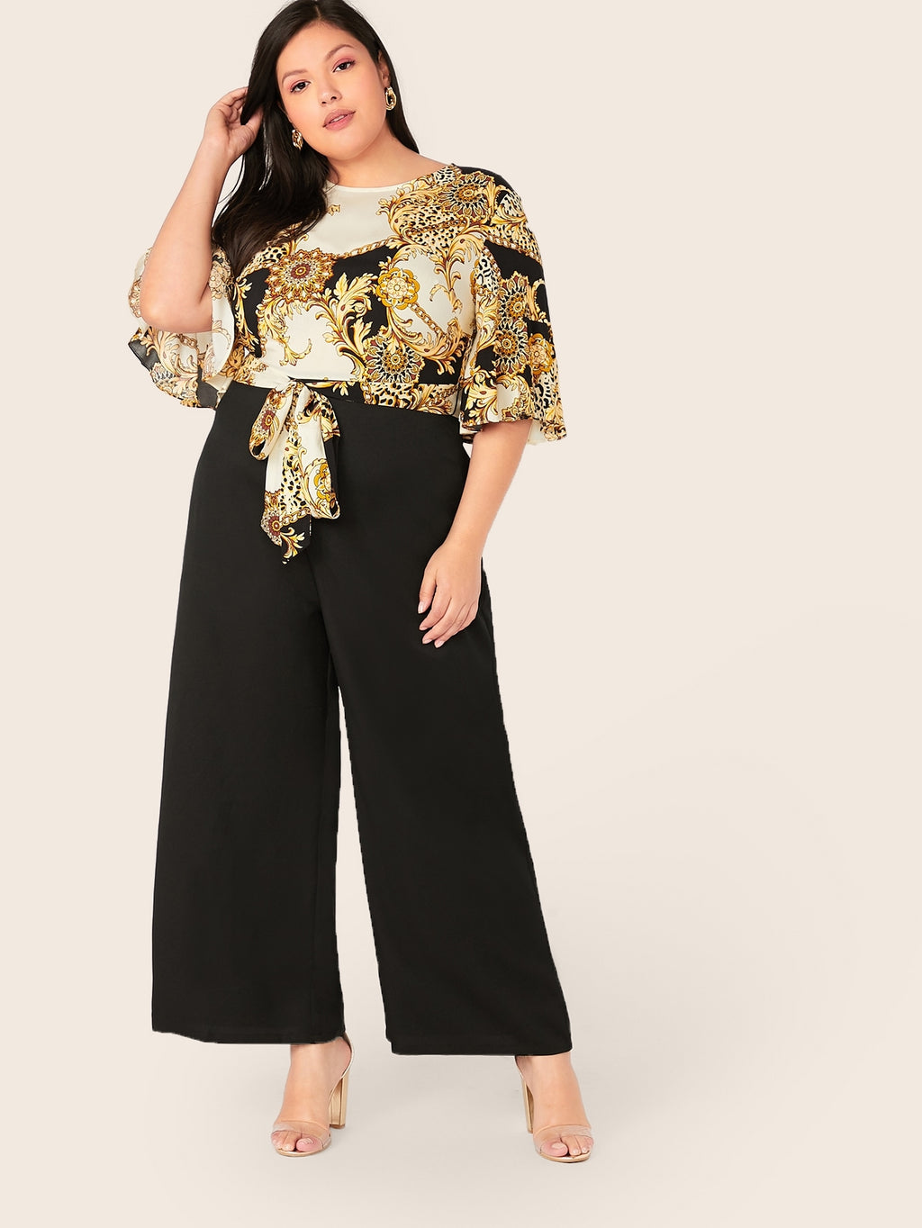 Plus Size Designer Chain Print Self Belted Jumpsuit