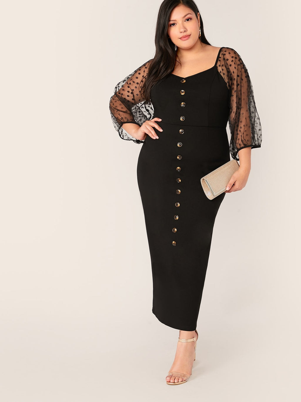 Plus Size Elegant Button Front Mesh Sleeve Dress
