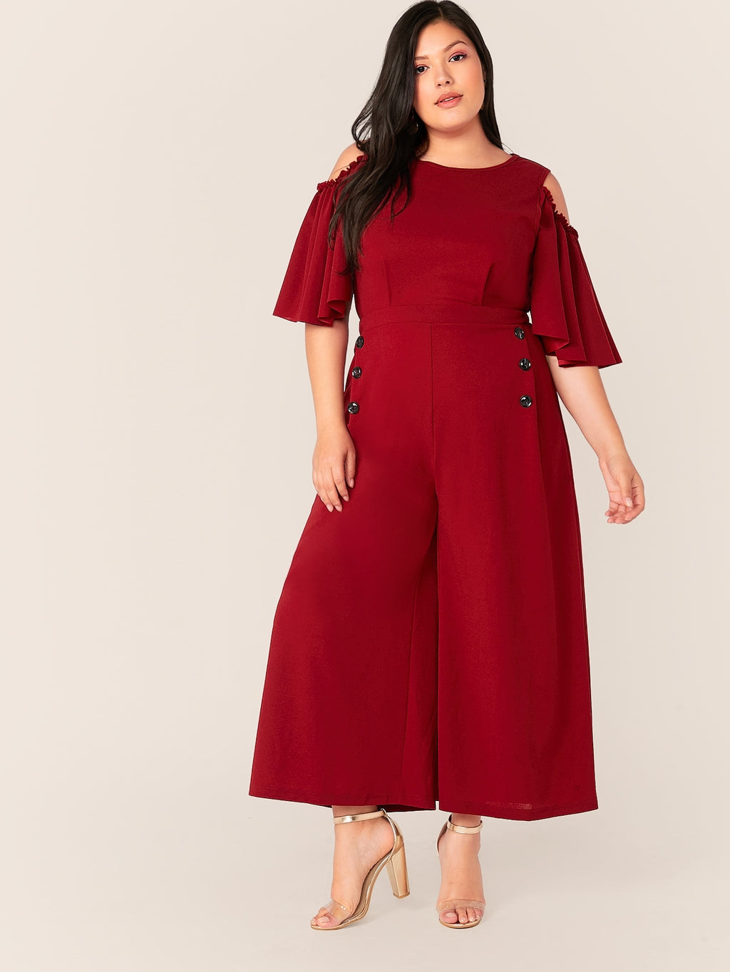 Plus Size Flutter Sleeve Cold Shoulder Wide Leg Jumpsuit