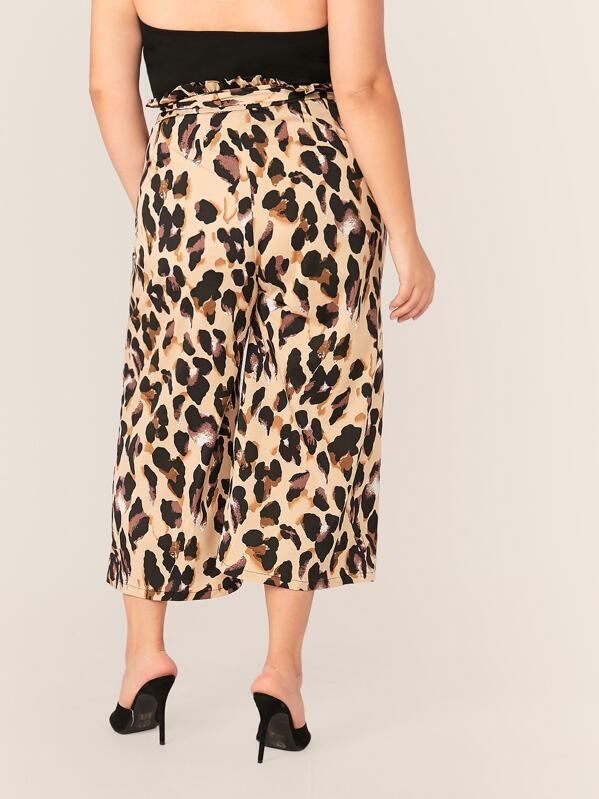 Plus Size Leopard Print Paperbag Waist Belted Palazzo Pants